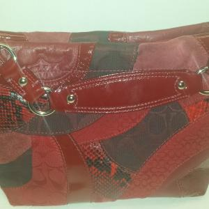 Authentic Coach Red Patchwork Handbag